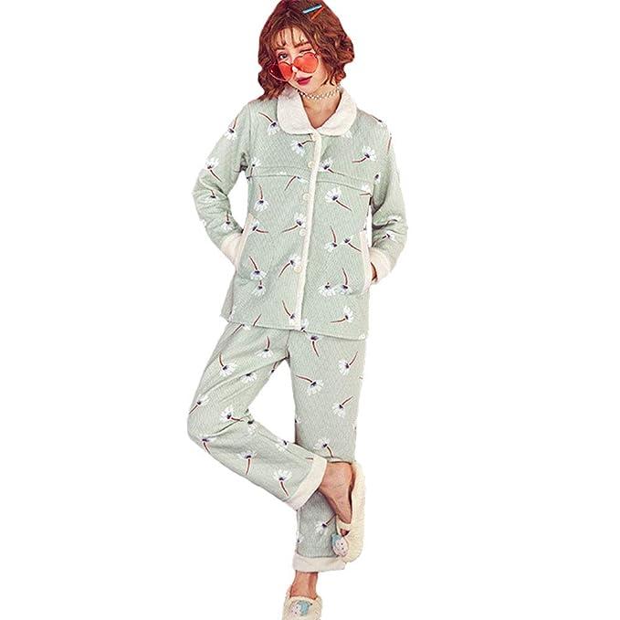 2c3b666ba XFentech Invierno Conjunto de Pijama de Lactancia para Mujer - Espesar  Caliente Ropa de Dormir de Maternidad Pijamas de Enfermería  Amazon.es  Ropa  y ...