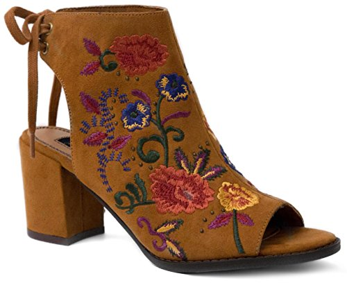 Mari A Women's Alicia Slingback Ankle Boot Peep Toe Bootie With Embroidery 9 Cognac