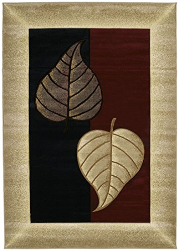United Weavers Wood Rug - United Weavers 510 21834 Contours Area Rug, Basil Burgundy 5-ft 3-in x 7-ft 6-in