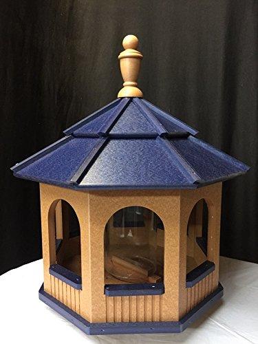 Large Gazebo Vinyl Bird Feeder Amish Homemade Handmade Handcrafted Cedar & Blue