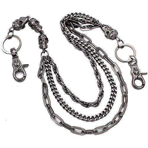 (Uniqsum Fire Skull charm Triple links wallet chain Biker Key chains (Gun-Metal) )