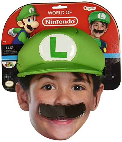 Super Mario Bros Hat (Nintendo Super Mario Brothers Luigi Child Hat and Mustache, One Size Child)