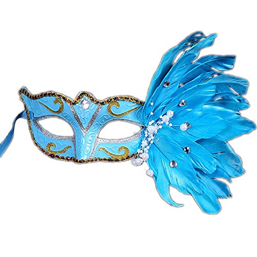 Rehot Masquerade Mask Women Feather Costume Prom Ball Mardi Gras Halloween Christmas Party Masks (Blue) -