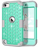 iPod 6th/5th Generation Case, Hocase Glitter Heavy Duty Shockproof Hard Plastic+Silicone Rubber Hybrid Protective Cover Case for iPod model A1574/A1509/A1421 - Teal/Grey