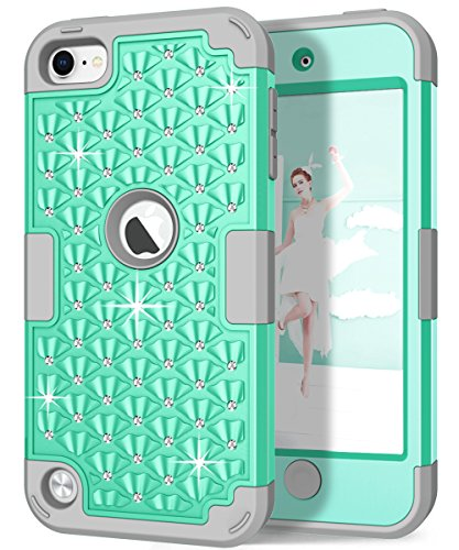 iPod touch Case, Hocase Sparkly Glitter Bling Rhinestone High Impact Silicone Rubber Bumper+Hard Back Cover Hybrid Protective Case for iPod touch 5th/6th Generation - Aqua / Grey