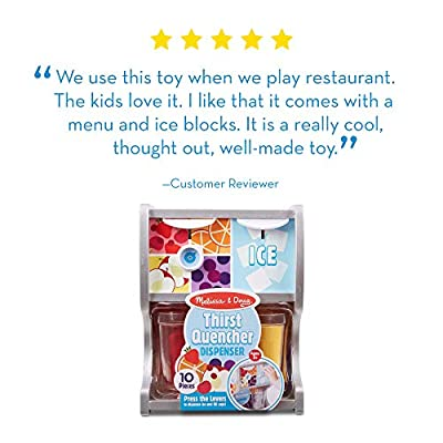 Melissa & Doug Wooden Thirst Quencher Drink Dispenser (10 Pieces, Great Gift for Girls and Boys - Best for 3, 4, 5, 6, and 7 Year Olds): Toys & Games
