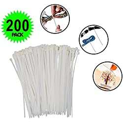 Nylon Cable Ties - 200 Pieces Self-Locking Fastening Cable Tie, For Home Office Garden Workshop Use, UV Resistant Plastic Wires Zip Ties Organiser by H&HODOR
