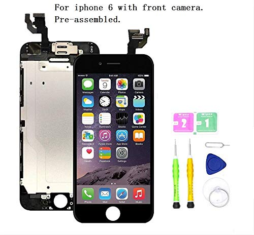 Screen Replacement Compatible with iPhone 6 4.7 inch Full Assembly - LCD Touch Display Digitizer with Ear Speaker, Sensors and Front Camera, Fit Compatible with All iPhone 6 (Black) (Iphone 6 Lcd Screen And Digitizer Full Assembly)