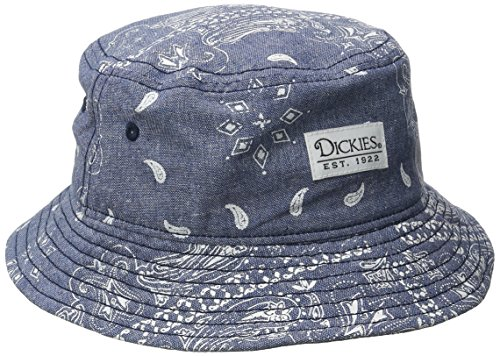 Dickies Men's Chambray Paisley Bucket, Navy, Large/X-Large
