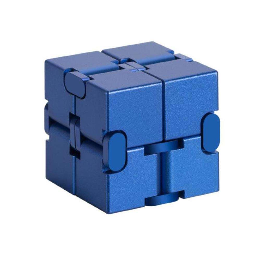 XIANK-UA Aluminum Infinity Cube Infinity Cube Decompression Artifact Creative Toy Flip Pocket Square,Blue