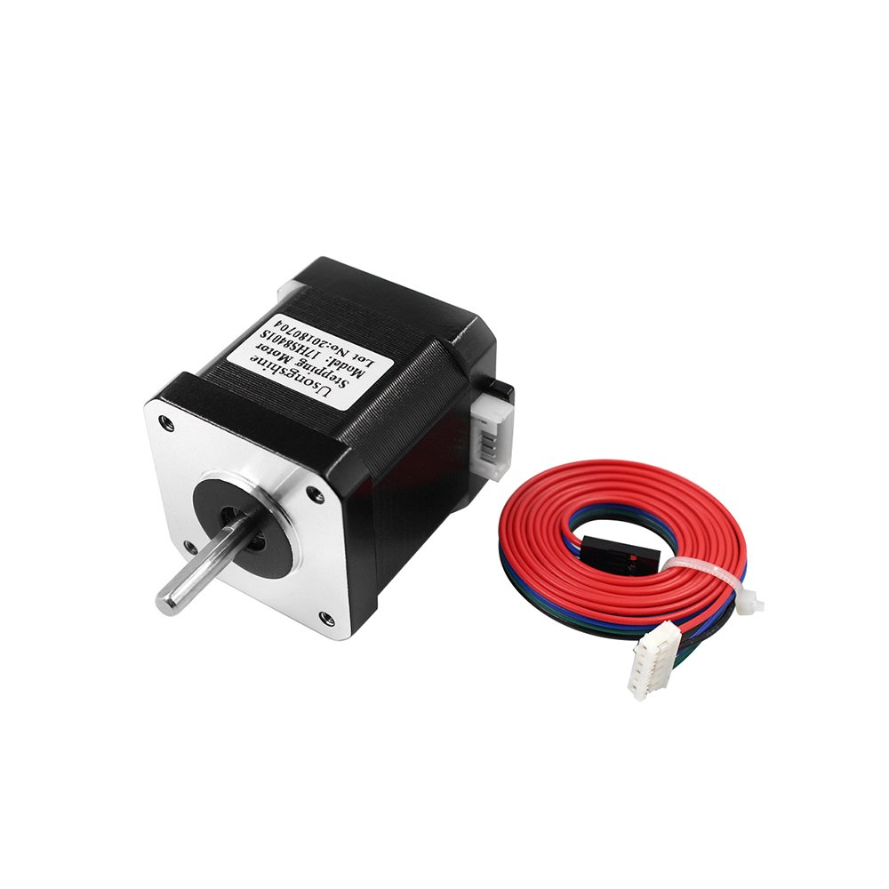 UsongShine Nema 17 Stepper Motor Bipolar 1.7A 26Ncm 36.8oz.in 48mm Body 4-lead W// 1m Cable and Connector compatible with 3D Printer//CNC