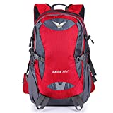 OpetHome Waterproof Outdoor Travel Sports Backpack with Shoulder Belt for Camping Hiking 38L Red