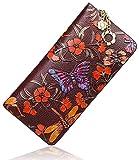 Pijushi Designer Floral Wallet Women's Genuine Leather Clutch Wallet Wristlet (1057-Brown)