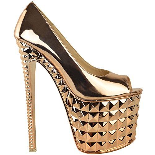 Mode Dorstige Dames Super Killer Hoge Hakken Stripper Paaldansen Sexy Sandalen Schoenen Rose Goud Metallic