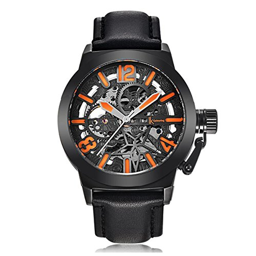 GuTe Mechanical Men Automatic Watch, Motion Style Tone Self Winding Genuine Black Leather Band Watch - Mens Automatic Self Winding Watch