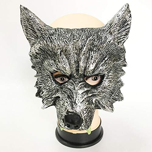 Loune Week Latex Mask Werewolf Latex Mask Halloween Animal Costume Latex Hood Wolf Mask Cosplay Masquerade Carnival Purim Masked Ball Rave Party Dress (1) -
