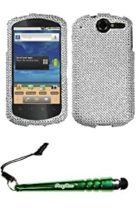 FoxyCase(TM) FREE stylus AND HUAWEI U8800 (Impulse 4G) Silver Full Diamond Bling Protector Cover(Full 2.0) cas couverture