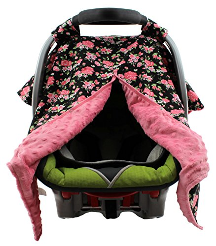 Dear Baby Gear Carseat Canopy, Vintage Floral Coral on Black, Coral Minky (Toddler Car Seat Cover Floral)