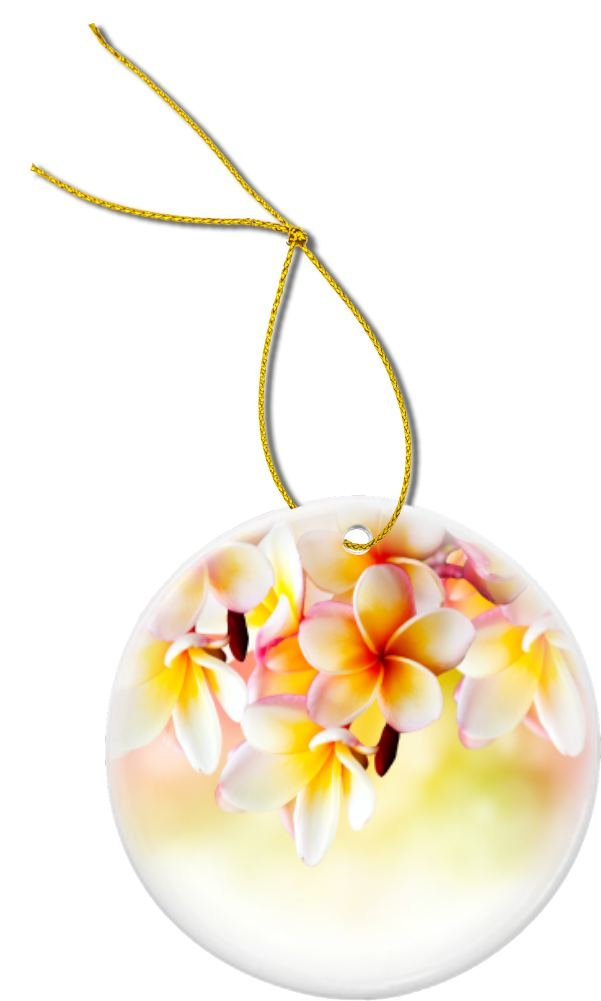 Rikki Knight Frangipani Tropical Spa Flower Design Round Porcelain Christmas Ornaments (Two-Sided)
