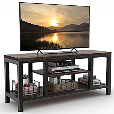 "LITTLE TREE TV Stand, Industrial Rustic Media Stand for 60"" TV, Large 3-Tier Entertainment Center with Shelves, Media Console Table for Living Room, Brown 59"" (Vintage)"