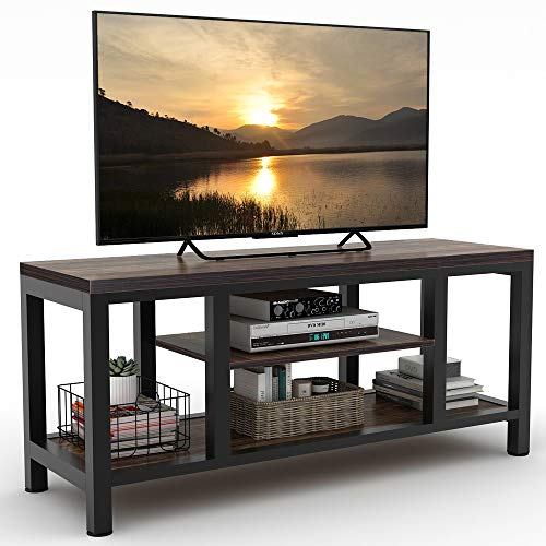 LITTLE TREE TV Stand, Industrial Rustic Media Stand for 60 TV, Large 3-Tier Entertainment Center with Shelves, Media Console Table for Living Room, Brown 59 Vintage