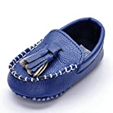 Lidiano Infant Baby PU Leather Soft Sole Moccasins Flat Loafers Sneakers 0-18 Months (6-12 Months, Blue Tassels)