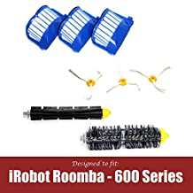 iRobot Roomba 600 610 620 630 645 650 655 660 680 500 Series Model 595 Accessories Replacement Kit includes Bristle, Flexible Beater Brushes, 3 Armed Brushes & 3 Aero Vac Filters