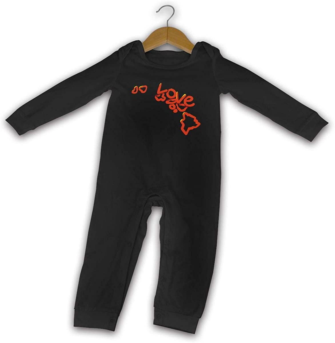Love Hawaii State Flag Map Printed Newborn Baby Bodysuit Long Sleeve Outfits Black