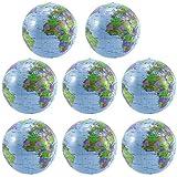 8PCS Inflatable Globe PVC World Globe Inflatable Earth Beach Ball for Beach Playing or Teaching, 16 Inch