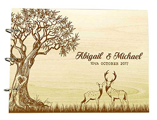 Tree Wedding Guest Book With Deer Wooden Personalized Name And Date Photo Albums Custom Scrapbook