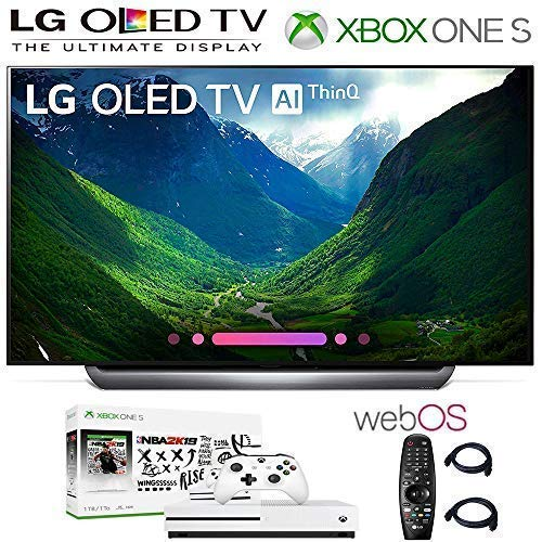 LG Electronics OLED65C8PUA 65-Inch 4K Ultra HD Smart OLED TV (2018 Model), Xbox One S NBA 2K19 Bundle, 2HDMI Cables. Authorized LG Dealer.