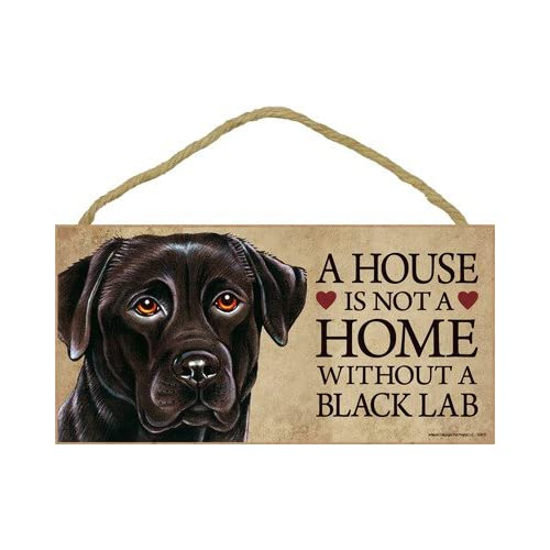 (SJT63910) A house is not a home without a Black Lab wood sign plaque