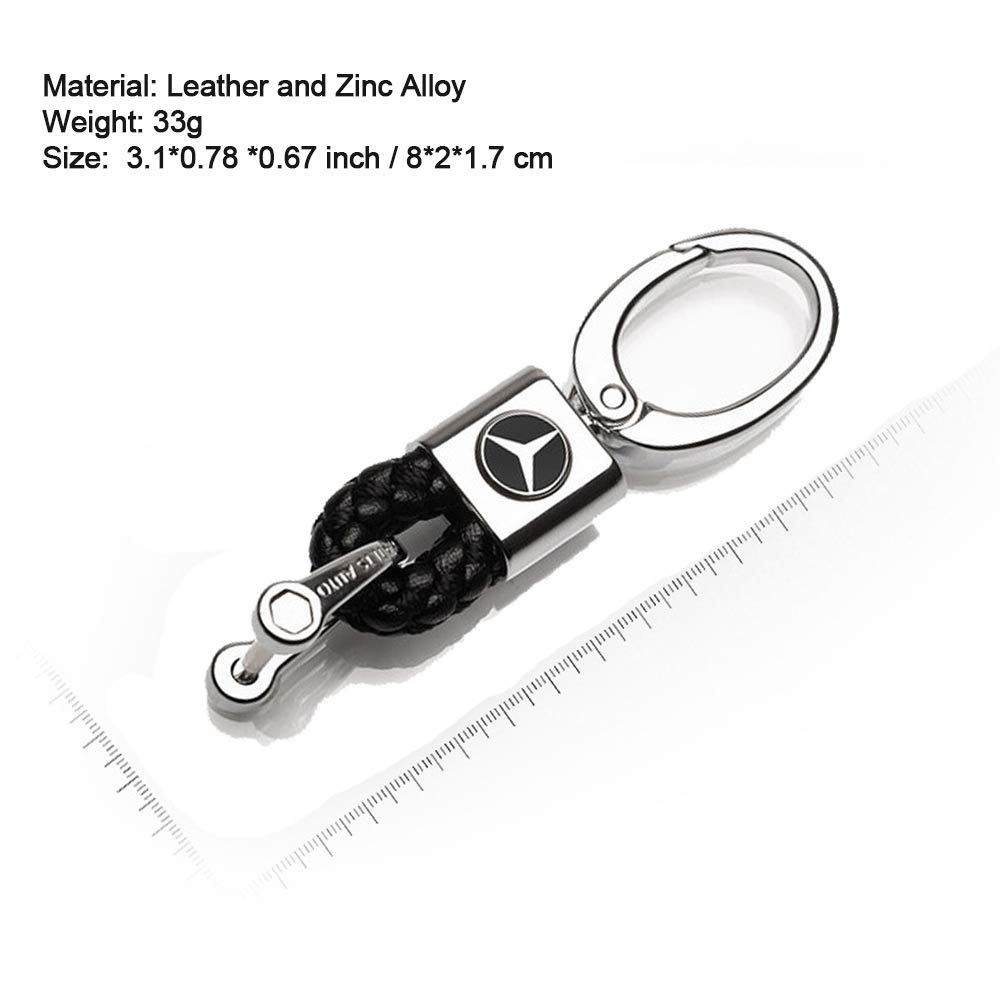 VILLSION Genuine Leather Keychain Mercedes Benz Accessories Car Key Ring with Zinc Alloy Hook