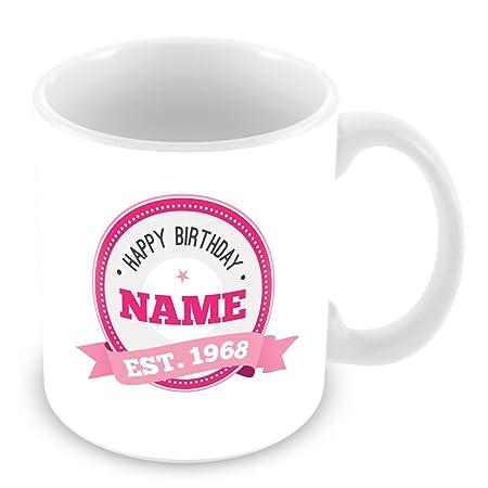 Feliz cumpleaños taza con nombre y año 1966 (50 años de edad ...
