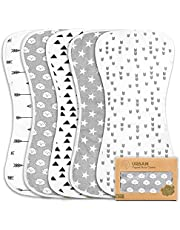 Organic Burp Cloths for Baby Girls - 5-Pack Ultra Absorbent Burping Cloth, Burp Clothes, Newborn Towel - Milk Spit Up Rags - Burpy Bib for Girl - Burp Cloths Set (Grayscape)
