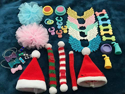 LPS Accessories Bows Wings Clothes Dress Skirt Food Drink Bone Random 8 Pieces Suit for LPS Collie Great Dane Dachshund Cocker Spaniel Dog Puppy LPS Shorthair Cat (Best Food For Cocker Spaniel Dogs)