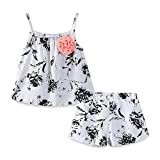 Mud Kingdom Little Girls Outfits Summer Holiday Floral Halter Tops and Short Clothes