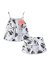 Mud Kingdom Little Girls Outfits Summer Holiday Floral Halter Tops and Short Clothes Sets