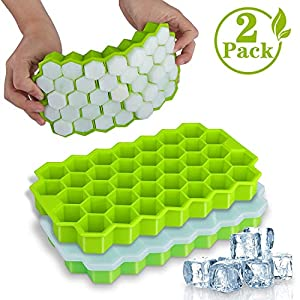 Ice Cube Trays, WETONG 2 Pack Silicone Ice Cube Molds with Lid Flexible Ice Trays BPA Free, for Whiskey, Cocktail…