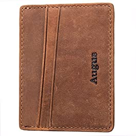 Augus leather Card Holder Front Pocket Wallet with RFID Blocking