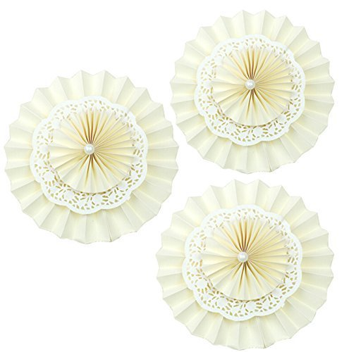 Set of 5 Cream Ivory Lace Hanging Paper Fan Party Pom Poms Wedding Birthday Anniversary Nursery Baby Room Decoration (Hanging Lace)