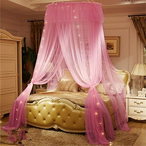 Lotus Karen Lotus Karen Princess Bed Canopy Romantic Round Dome Double Ruffles Mosquito Net for King Queen Full Twin Size Bed price tips cheap