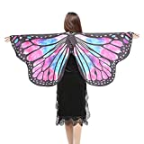 NUWFOR Christmas/Party Prop Soft Fabric Butterfly Wings Shawl Fairy Ladies Nymph Pixie Costume Accessory?D-Hot Pink?One Size?