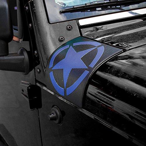 Body Armor Hood Guard - JeCar Jeep Wrangler Cowl Armor Body Armor Hood Corner Guards 2007-2017 Jeep Accessories JK JKU & Unlimited Rubicon Sahara Sports-Pair(Blue)