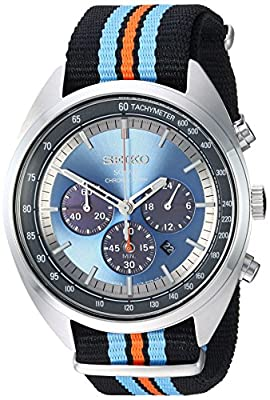 Seiko Men's 'RECRAFT Series' Quartz Stainless Steel and Nylon Dress Watch, Color:Black (Model: SSC667) from Seiko Watch Corporation