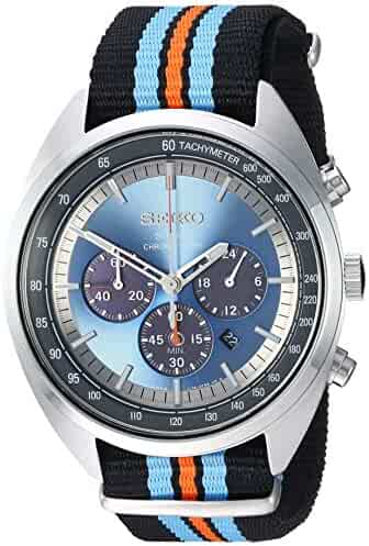 Seiko Men's RECRAFT Series Stainless Steel Japanese-Quartz Watch with Nylon Strap, Black, 21.65 (Model: SSC667