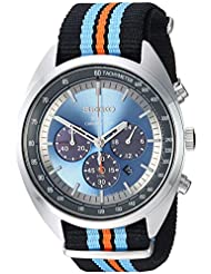 Seiko Mens RECRAFT SERIES Quartz Stainless Steel and Nylon Dress Watch, Color:Black (Model: SSC667)