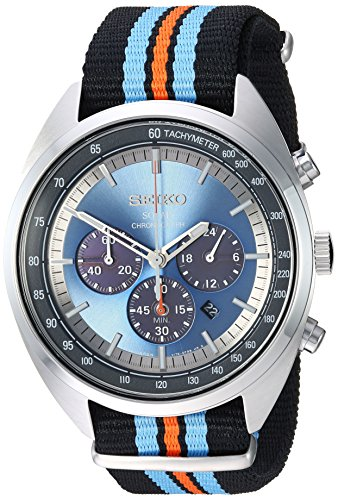 Seiko Men's RECRAFT Series Stainless Steel Japanese-Quartz Watch with Nylon Strap, Black, 21.65 (Model: SSC667) (Seiko Watches For Men Ssc)