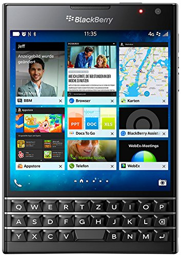 BlackBerry Passport Smartphone (11,4 cm (4,5 Zoll) Display, Nano-SIM, QWERTZ, 32GB interner Speicher, 13 Megapixel Kamera, Blackberry OS 10.3) schwarz