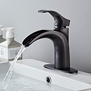 Yodel Single Handle Waterfall Bathroom Sink Faucet,Oil Rubbed Bronze